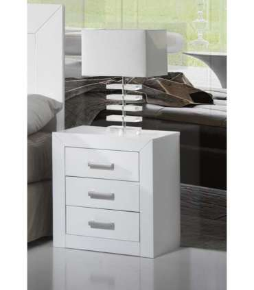 BEDSIDE TABLE 3 DRAWERS YOUTH BEDROOM OR WHITE LACQUERED MARRIAGE