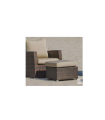 Footrest stool in synthetic marrow with Kenya-5 cushion.