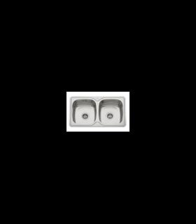 Fregadero de 2 senos en inox con orificio grifo de8250ESMEBRA