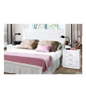 Set marriage headboard 2 tables in white wood
