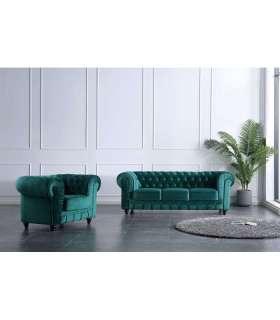 Conjunto de 3 plazas + 1 sillón Chesterfield en tela Velvet