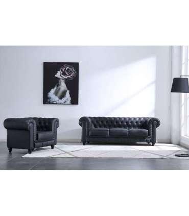 Conjunto de 3 plazas + 1 sillón Chesterfield en simil piel