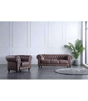 Conjunto de 3 plazas + 1 sillón Chesterfield enTejido imitación