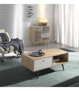 Mesa de centro acabado roble/blanco 40 cm(alto)90 cm(ancho)50