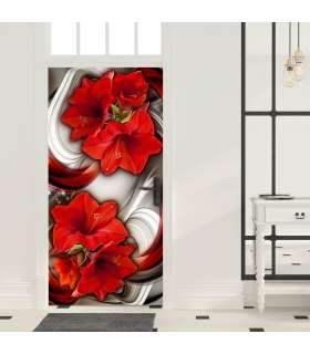 Fotomural para puerta - Photo wallpaper - Abstraction and red flowers I - Imagen 1