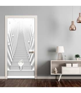 Fotomural para puerta - Photo wallpaper - White stairs and jewels I - Imagen 1