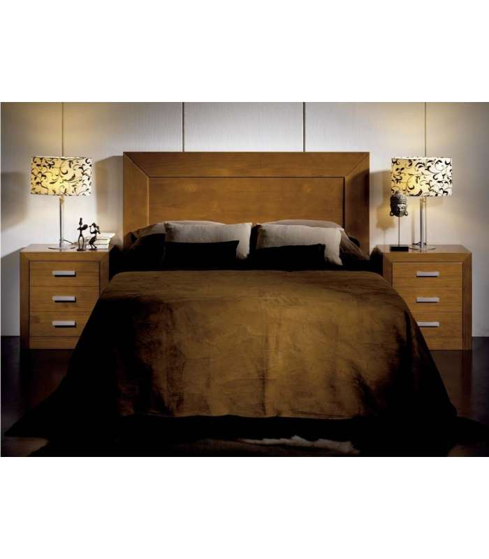 Conjunto dormitorio matrimonio cabecero 2 mesitas en madera for Conjunto dormitorio barato