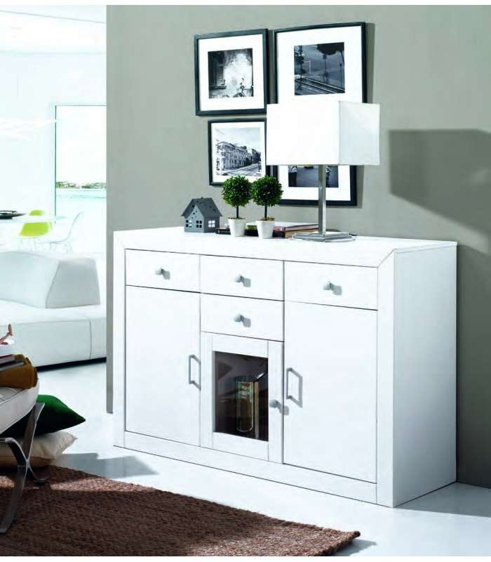 Aparador 3 puertas para sal n recibidor o cocina blanco for Muebles baratos por internet