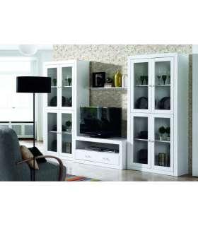 Mesa de centro lacada blanca rectangular for Mueble salon lacado blanco