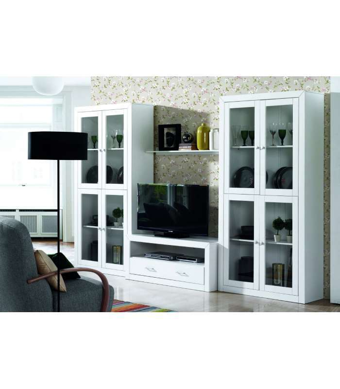 Mueble composici n de sal n lacado blanco for Muebles salon colonial blanco