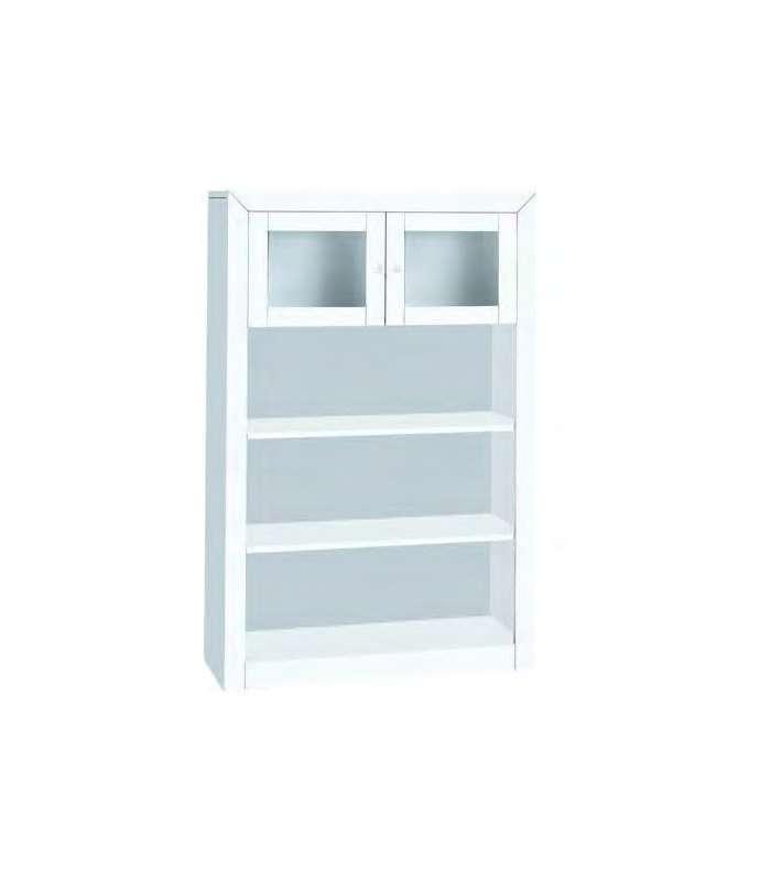 Libreria con estanterias para salón o cocina lacado blanco