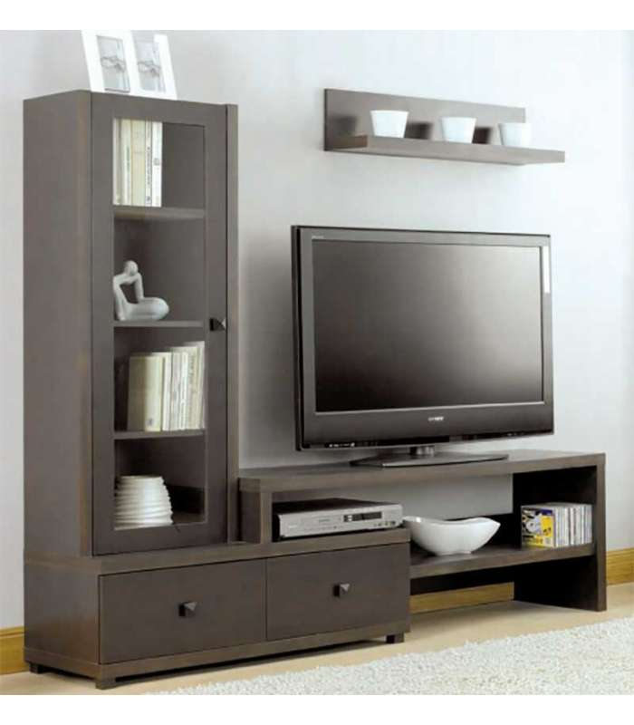 Mueble composici n de sal n xira 2 cajones wengue melamina for Muebles de salon para tv