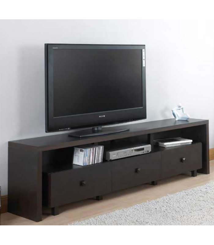 Mueble de televison barato xira 3 cajones wengue color for Muebles de tv baratos