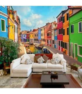 Fotomural -  Colorful Canal in Burano - Imagen 1