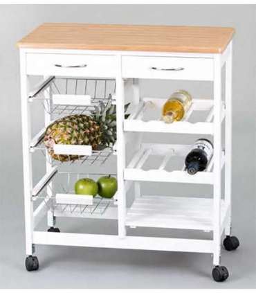 FULL WOOD AND WHITE CUISINE CART