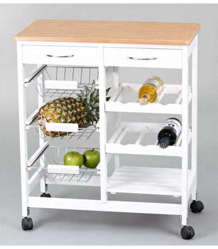 Carro cocina completo madera y blanco for Mesa frutero cocina