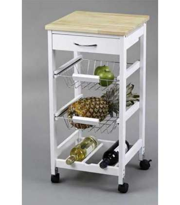 TROLLEY BASKETS KITCHEN + WINE RACK WOOD