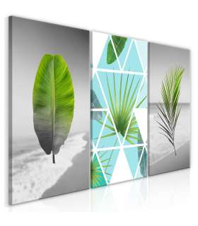 Cuadro - Leaves on the Beach (3 Parts) - Imagen 1
