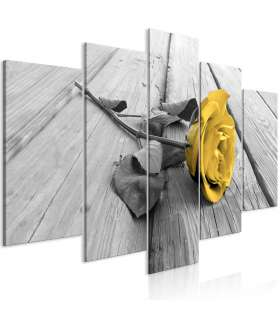 Cuadro - Rose on Wood (5 Parts) Wide Yellow - Imagen 1