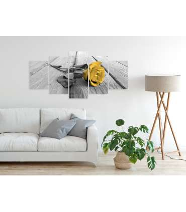 Cuadro - Rose on Wood (5 Parts) Wide Yellow - Imagen 2