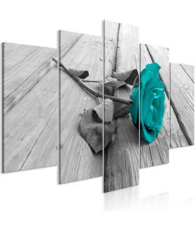 Cuadro - Rose on Wood (5 Parts) Wide Turquoise - Imagen 1