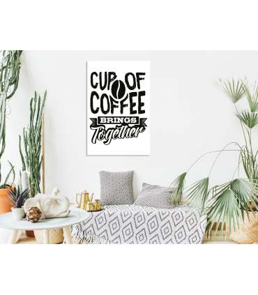 Cuadro - Cup of Coffee Brings Together (1 Part) Vertical - Imagen 2