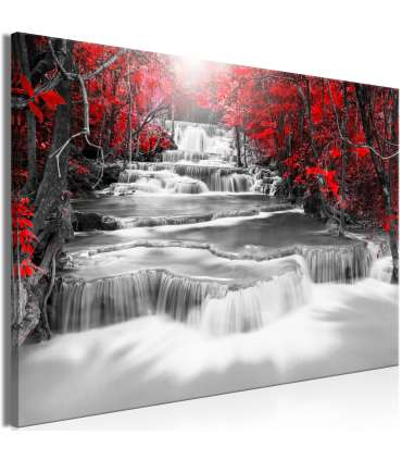 Cuadro - Cascade of Thoughts (1 Part) Wide Red - Imagen 1