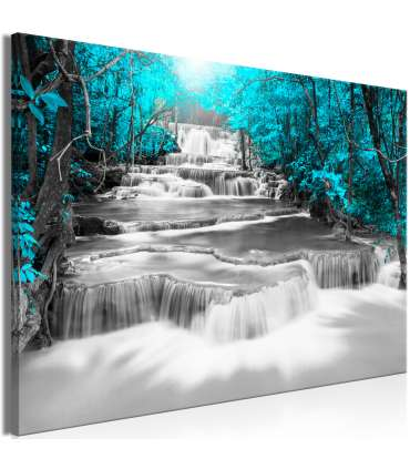 Cuadro - Cascade of Thoughts (1 Part) Wide Turquoise - Imagen 1