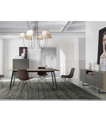PDCOR Mesas de salon Mesa fija rectangular en blanco VICTORIA