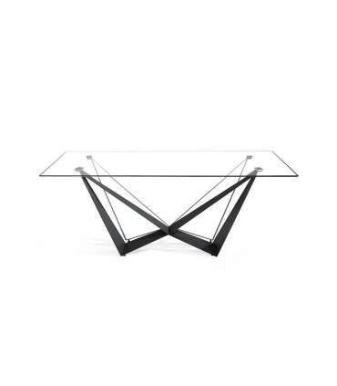 PDCOR Mesas de salon Mesa fija rectangular de vidrio templado