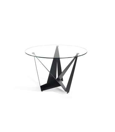 PDCOR Mesas de salon Mesa fija circular de vidrio templado