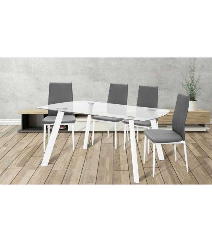 Conjunto mesa Carla 2 colores 4 sillas Lucia 2 colores - Pack de mesa y sillas para salón -