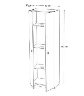 Armario dos puertas blanco 60 cm de anchoMD BLOCK Lavadero