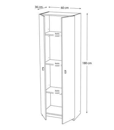 Armario dos puertas en acabado color blanco 60 cm(ancho) 180