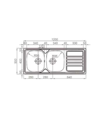 Fregadero con escurridor con/sin orificio grifo de12050