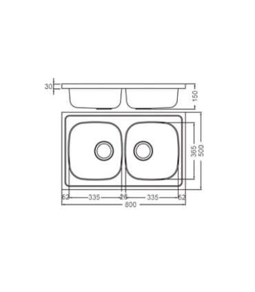 Fregadero de 2 senos para mueble modelo dp8050ESMEBRA