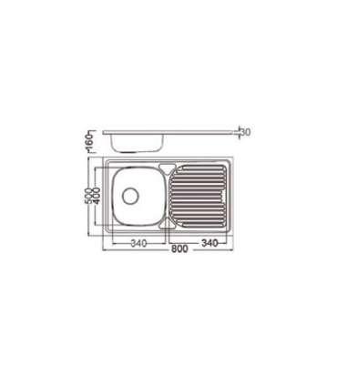 Fregadero para mueble con escurridor modelo sp8050 Fregaderos