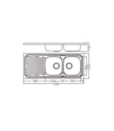 Fregadero para mueble con escurridor modelo dp13550ESMEBRA