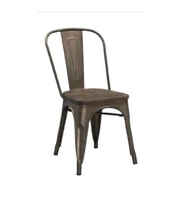 Silla metálica asiento madera. Sillas de cocina KitCloset