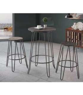 Conjunto cocina mesa y 2 taburetes metal/madera. Pack mesa y