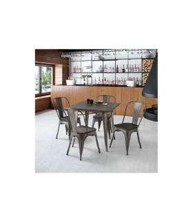 Conjunto mesa y 4 sillas metal/madera.