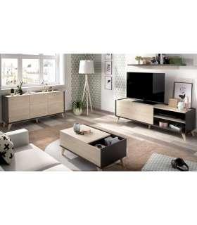 Conjunto salón Ness 3: aparador, mueble TV, estanteria y mesa