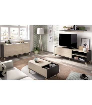 Conjunto salón Ness 3 compuesto de aparador 3 puertas, mueble television , estanteria y mesa centro