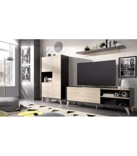 Conjunto salón Ness 1: modulo alto, mueble bajo TV y