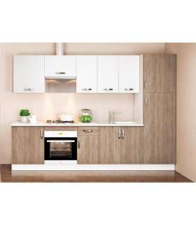 Cocina completa 3 metros color roble-blanco KIT-KITMD BLOCK