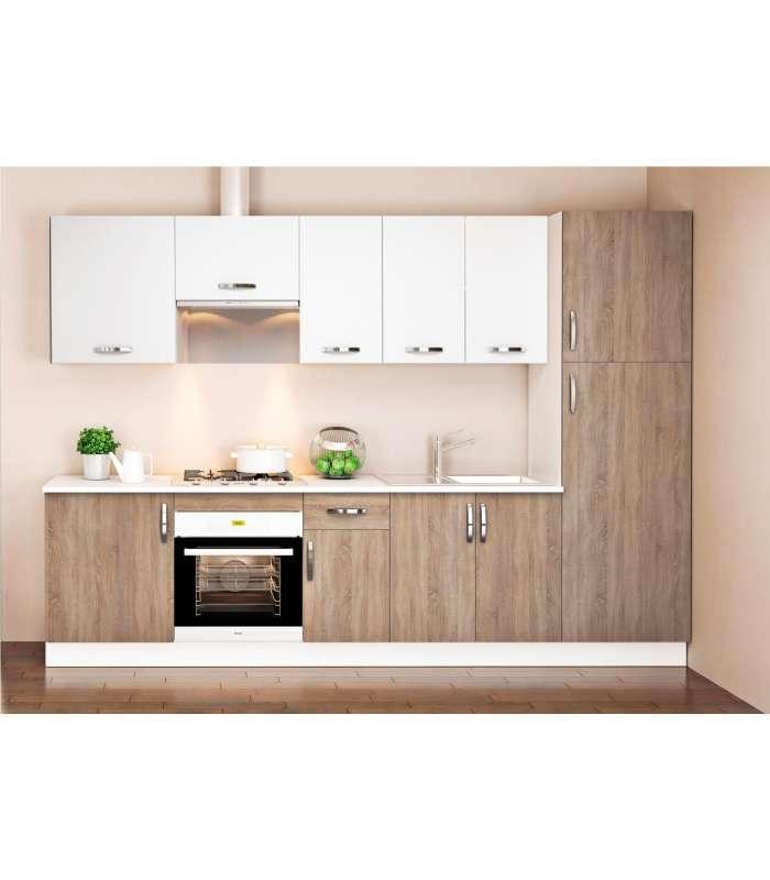 Cocina Completa 3 Metros Color Roble Blanco