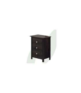 SOLID WOOD BEDSIDE TABLE 3 DRAWERS YOUTH BEDROOM TABAC