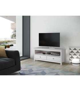 Mesa de television Tabac, pino macizo blanca.