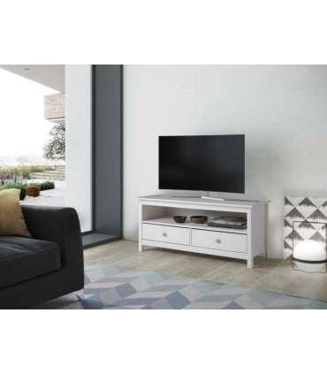 Mesa de television Tabac, pino macizo blanca. Mesas TV Dogar