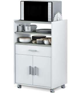 Habitdesign 0L9910O - Mueble auxiliar para microondas, mesa cocina con un cajón y dos puertas, color blanco y cemento, medida